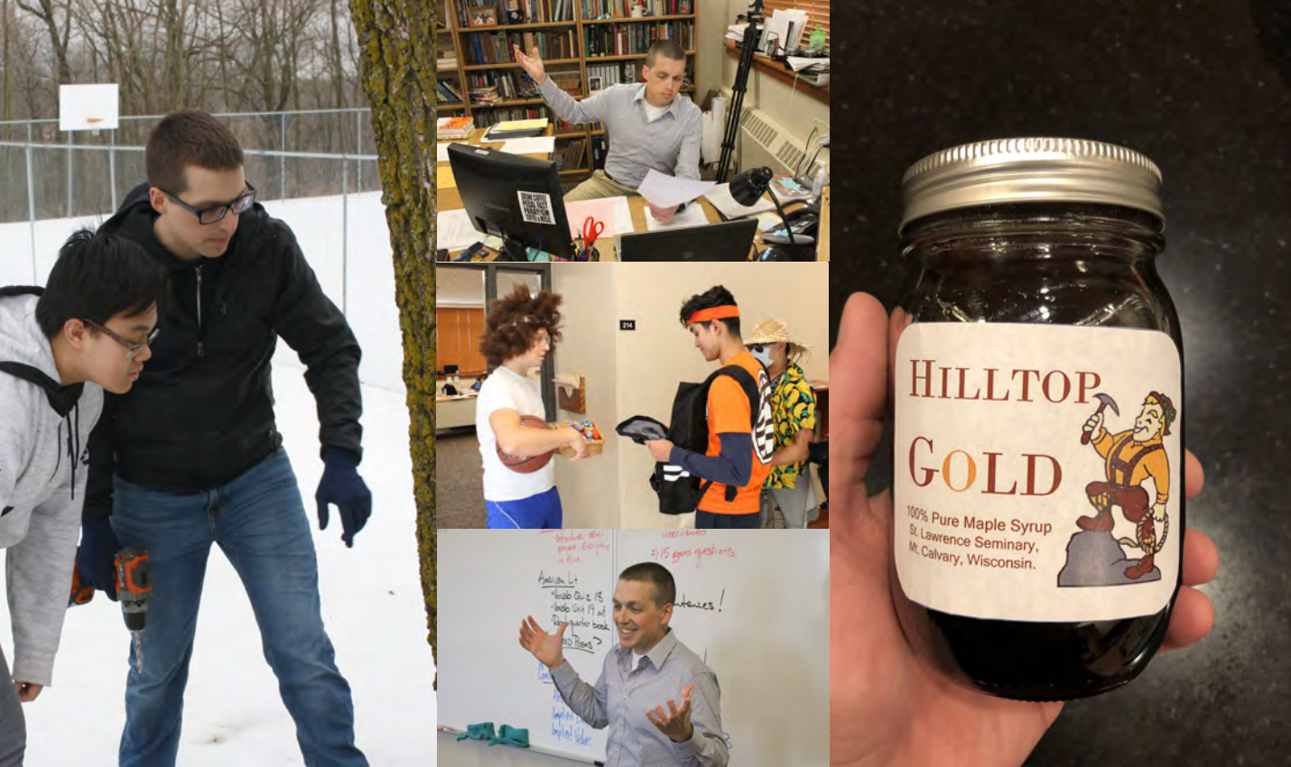 """a compilation of photos of Mr. Van Asten: looking at a tree with a student, in his office, wearing a wig and posing with a basketball, teaching in front of a whiteboard and holding a jar of """"Hilltop Gold"""" maple syrup"""