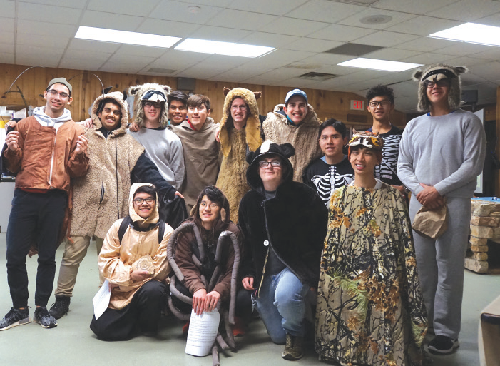 a group of students in animal costumes