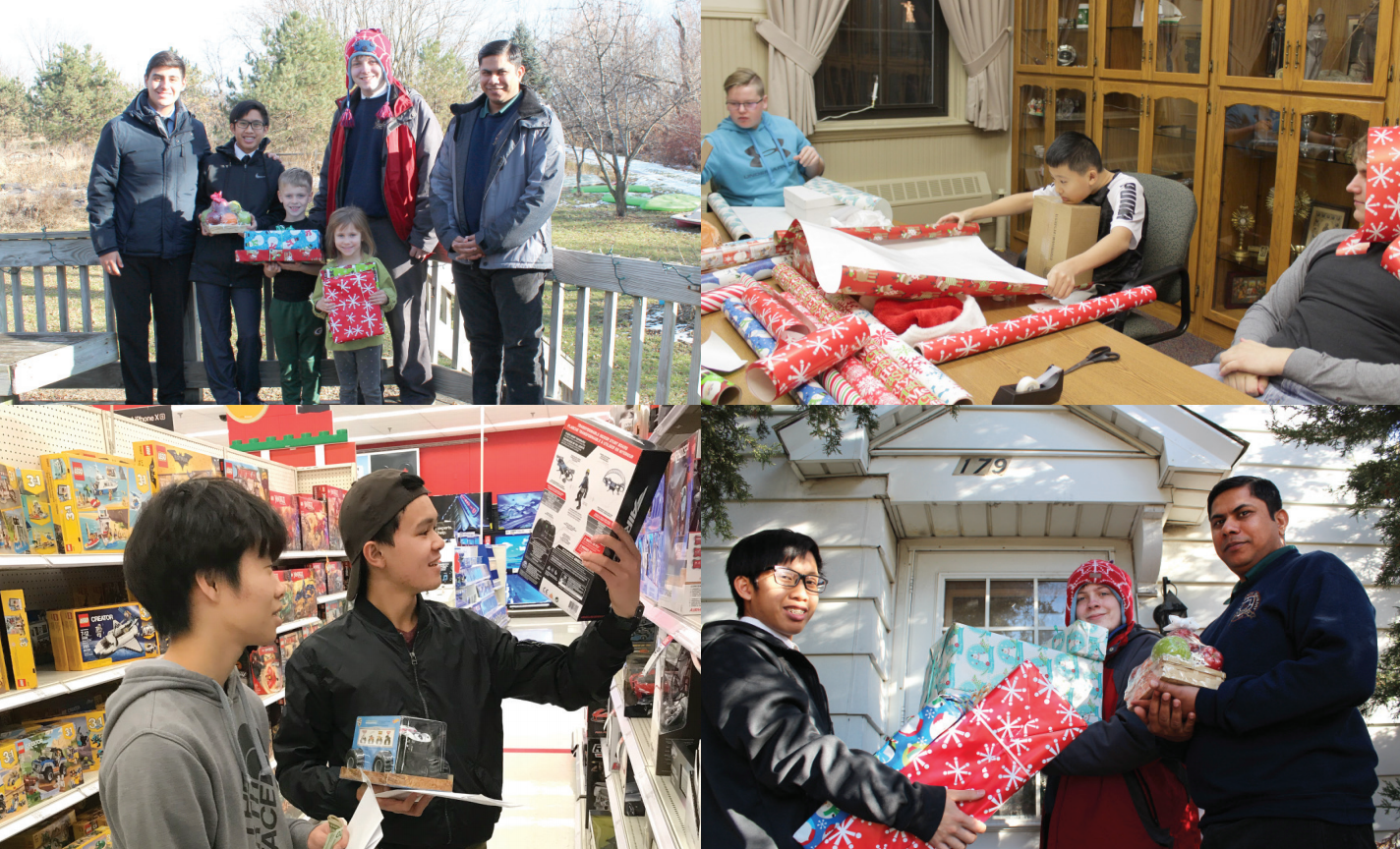 four photos of students shopping for presents, wrapping presents and delivering presents to families