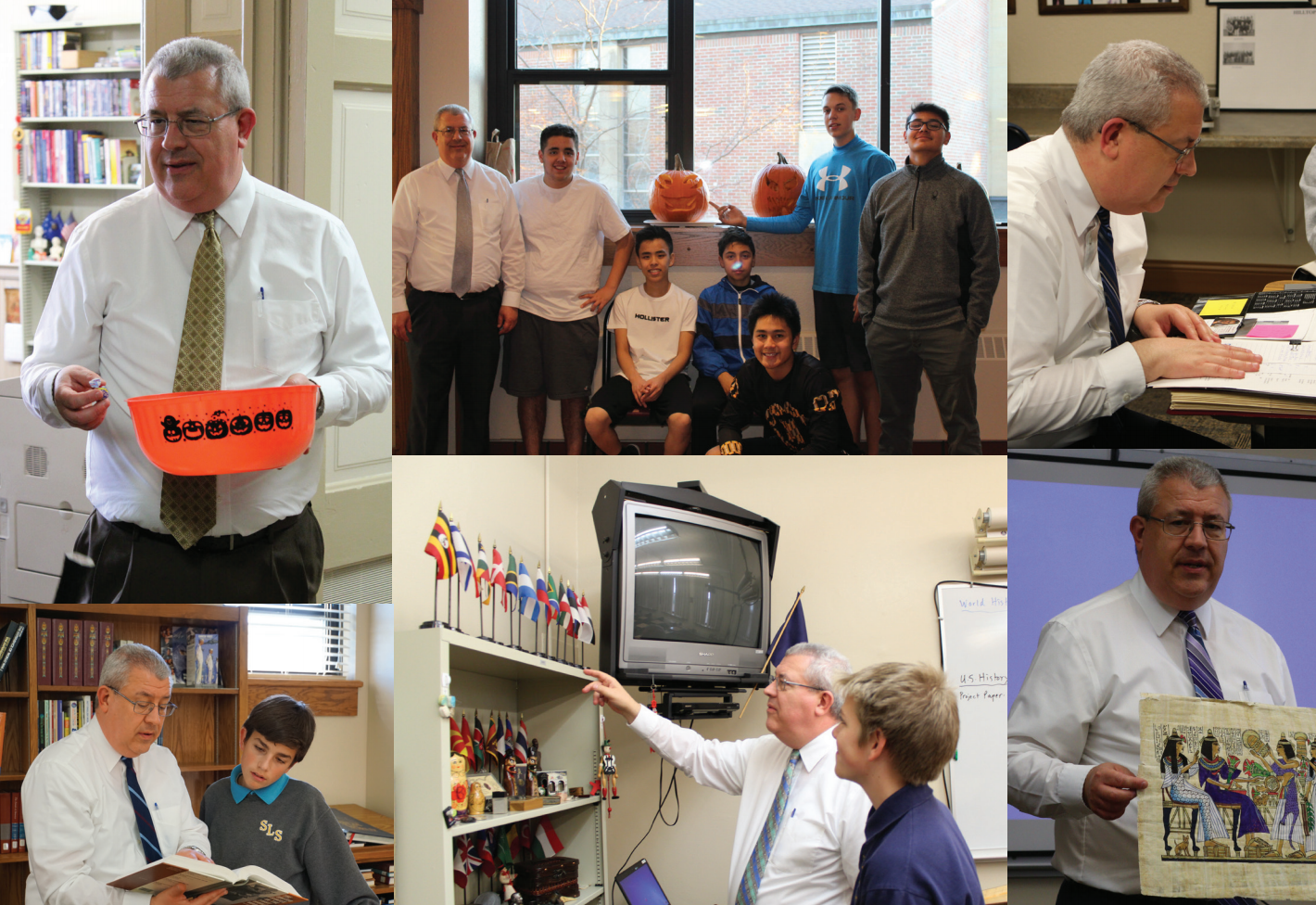 a compilation of photos of Mr. Kreig: handing out candy, posing with students, preparing for class, reading a book, pointing to flags and holding a picture of hieroglyphics