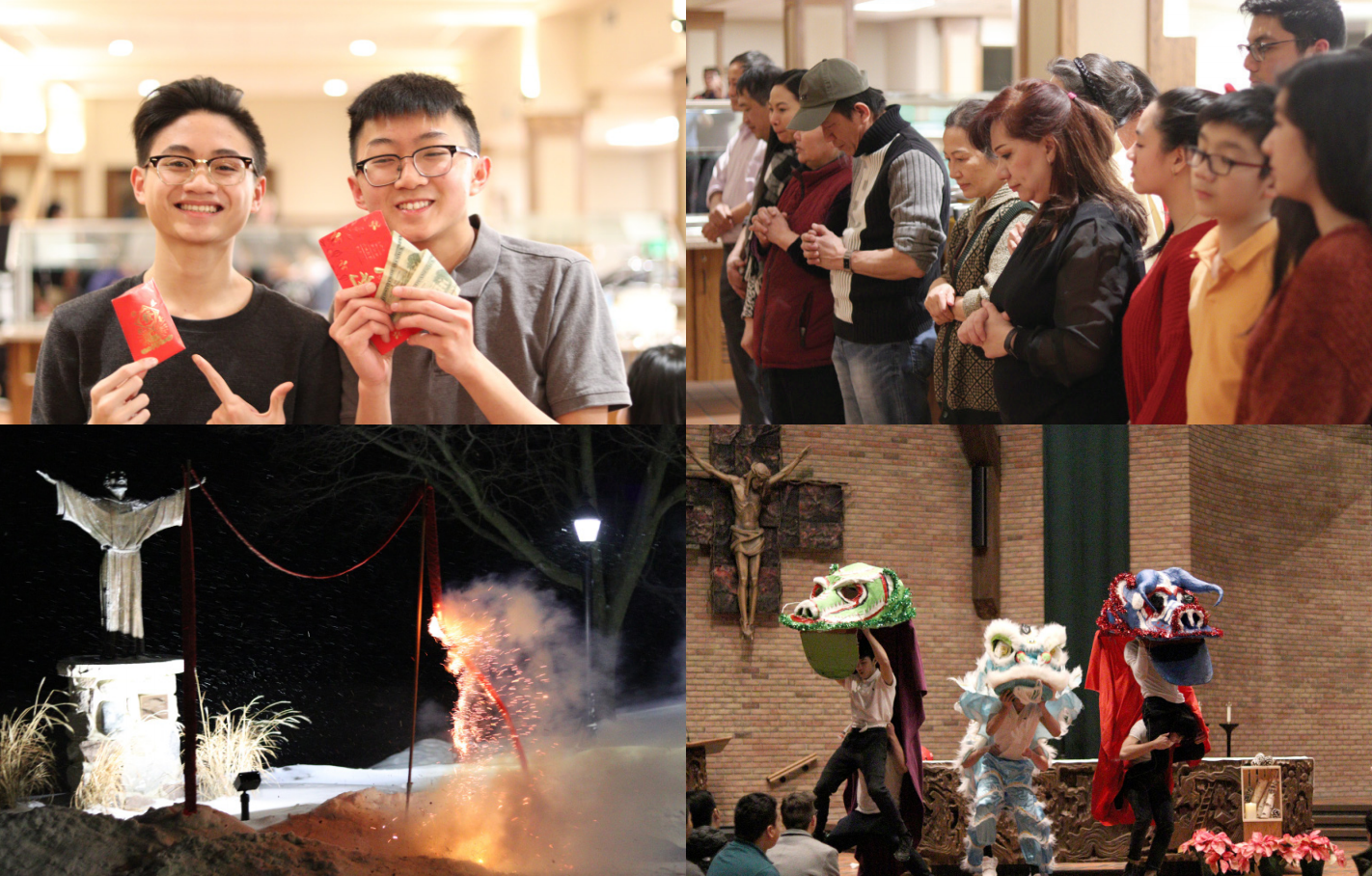 a compilation of photos showing the celebration of Tet: boys holding lucky money, a family in line, fireworks and performers wearing dragon costumes