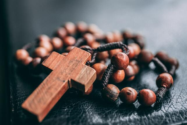 close up of wooden rosary