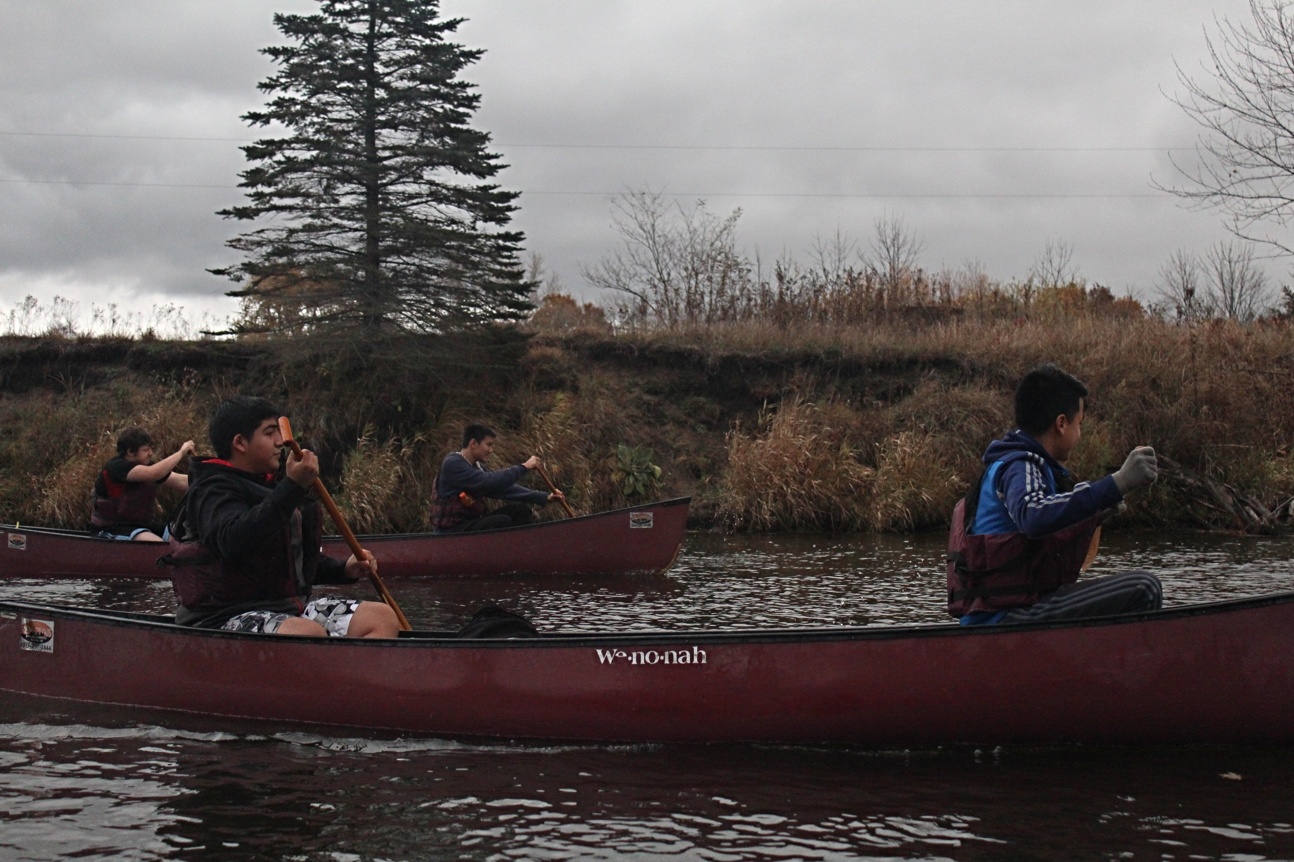 boys rowing in a kayak