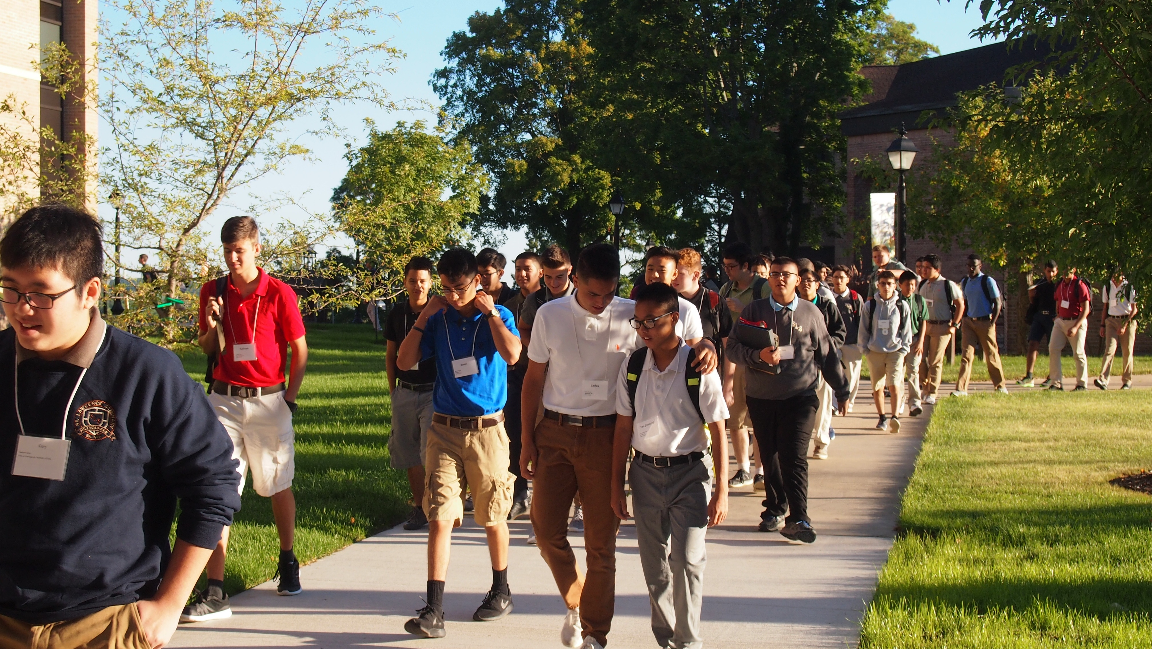 group of students walking